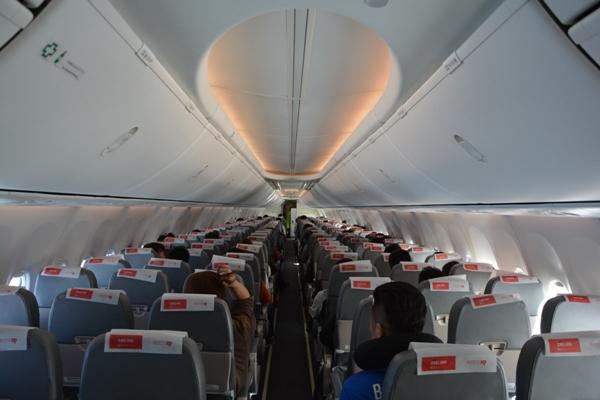 春秋航空日本の機内の様子