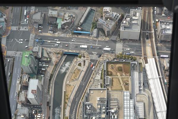 高さ450mの展望回廊から見た真下の地上の景色