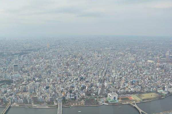 高さ450mの展望回廊からの東京の景色