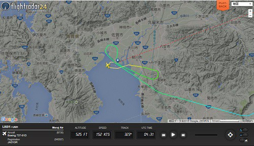 佐賀空港名物のサークリングアプローチの飛行軌跡