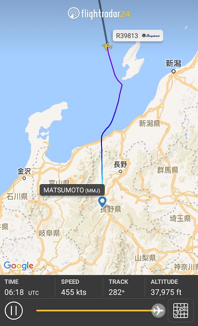 松本空港に飛来したヤクーツク航空のSSJ-100型機の飛行ルート