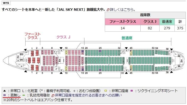 JALのB777-200型機の座席表