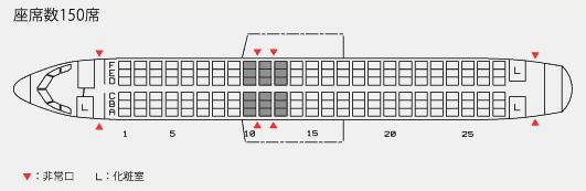 スターフライヤーのA320型機の座席表