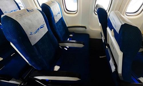 バンコクエアウェイズのATR72型機の座席