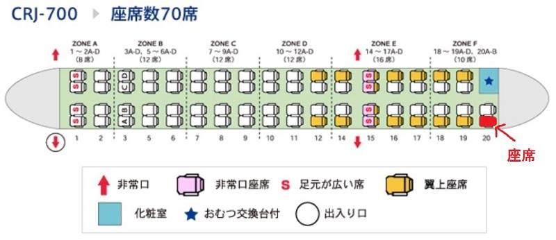 IBEXエアラインズのCRJ700の座席表