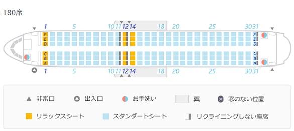 バニラエアのA320型機の座席表