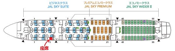 JALのB787-8型機の座席と自席の位置