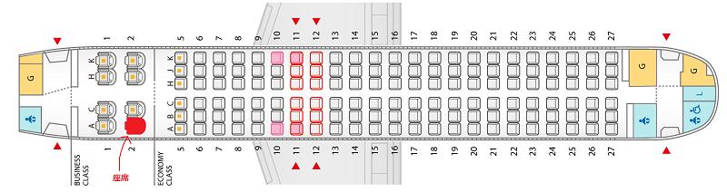 ANAのA320neoの座席表&自席の位置