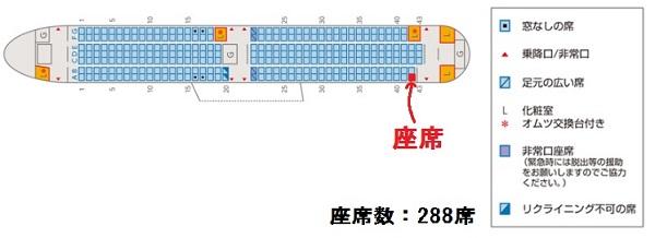 エアドゥのB767-300型機の座席表と自分の座席位置
