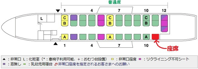 SAAB340Bの座席表と自席の位置
