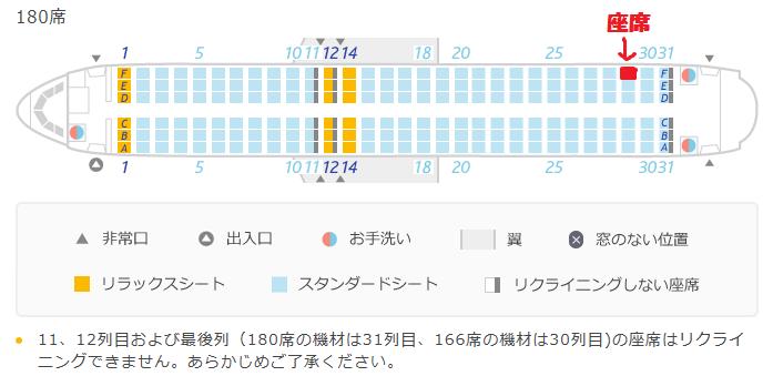バニラエアのA320型機の座席表と自席の位置